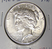 AU 1923-S PEACE SILVER DOLLAR ABOUT UNCIRCULATED SAN FRANCISCO MINT 82317