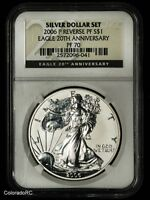 2006-P REVERSE PROOF AMERICAN SILVER EAGLE, NGC PF70 - 20TH ANNIVERSARY SET COIN