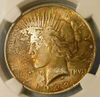 1922 NGC MINT STATE 65 PEACE COLOR TONE SILVER DOLLAR TONED RUSSET PINK GREEN COOL $1