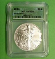 2004 ICG MS70 SILVER EAGLE DOLLAR, 1OZ FINE SILVER $1 COIN,  MINT LUSTER