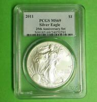 2011 PCGS MINT STATE 69 SILVER EAGLE DOLLAR FROM 25TH ANNIVERSARY SET, 1OZ FINE SILVER $1