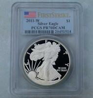 2011 W PCGS PROOF 70 DEEP CAMEO FIRST STRIKE SILVER EAGLE DOLLAR, FLAG LABEL