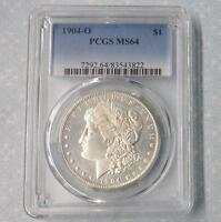 1904 O PCGS MINT STATE 64 MORGAN SILVER DOLLAR, BLAZING LUSTER MINT STATE 64 SILVER $1 COIN