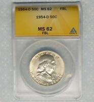 1954 D ANACS MINT STATE 62 FBL FRANKLIN SILVER HALF, BLAZING LUSTER, FULL BELL LINE MINT STATE 62