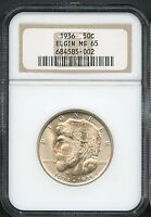 1936 50C MINT STATE 65 ELGIN NGC MINT STATE UNCIRCULATED COMMEMORATIVE HALF DOLLAR