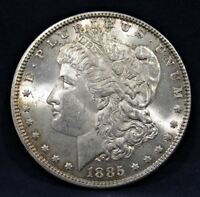 1885 MORGAN DOLLAR CHOICE BU HOT 50 VAM 1C PITTED REVERSE AC292
