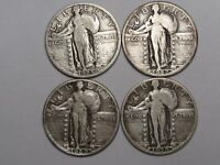 4 SILVER STANDING LIBERTY QUARTER DOLLARS: 1925, 1927, 1929 & 1930.  8