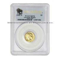 2008 W $5 GOLD BUFFALO PCGS MS70 FIRST STRIKE AMERICAN BURNISHED 1/10 OZ 24KT