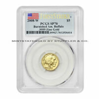 2008 W $5 GOLD BUFFALO PCGS SP70/MS70 FIRST STRIKE AMERICAN BURNISHED COIN FLAG