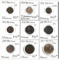 9 BRITISH COPPERS  1675 1888  1/3 FARTHING TO HALF PENNY CV