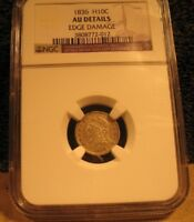 1836 CAPPED BUST 1/2 DIME   NGC   AU   EDGE DAMAGE