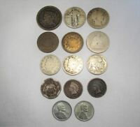 VINTAGE US COIN LOT 14PC LARGE INDIAN STEEL TWO CENT LIBERTY SILVER BARBER C667