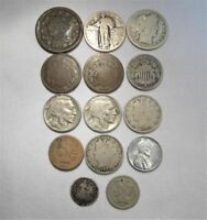 VINTAGE US COIN LOT 14PC LARGE INDIAN STEEL SHIELD LIBERTY BUFFALO SILVER C664