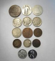 VINTAGE US COIN LOT 14PC LARGE INDIAN STEEL LIBERTY STANDING SILVER BARBER C663