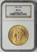 1895 LIBERTY HEAD DOUBLE EAGLE GOLD $20 MS 63 NGC