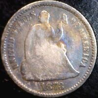 1873 SEATED HALF DIME FULL RIMS TONED SILVER COIN TONE LOT 3   MAKE AN OFFER