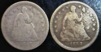 1857 & 1858 SEATED HALF DIMES WITH ARROWS SILVER LOT OF 2 COINS   NO RESERVE