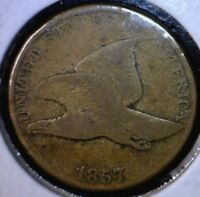 1857 FLYING EAGLE CENT FINE LOOKING US PENNY COIN LOT  F 4    NO RESERVE