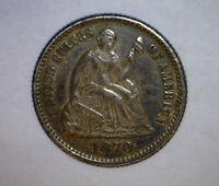 1870 PROOF SEATED HALF DIME COIN  LOW MINTAGE 100 ORIGINAL TONED COIN 2