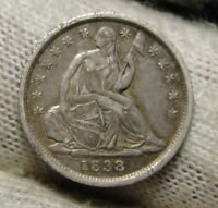 1838 SEATED LIBERTY HALF DIME H10C NO DRAPERY -  COIN, SHIPS FREE 3702