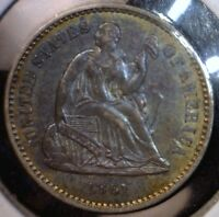 1861 TONED SEATED HALF DIME PRE CIVIL WAR SILVER COIN AWESOME BLUE/YELLOW TONE 3