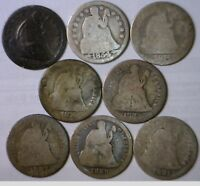 1839 - 1891 LOT OF SEATED SILVER DIMES LOT OF 8 DIFFERENT DATE COINS