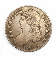 BARGAIN 1814 CAPPED BUST/LETTERED EDGE SILVER HALF DOLLAR EXTRA FINE