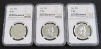 1961, 1962, 1963 3-COIN LOT FRANKLIN HALF DOLLARS NGC PF66