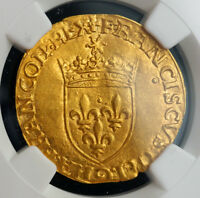 1547 ROYAL FRANCE FRANCIS I. BEAUTIFUL GOLD ECU  WITH SUN  COIN. NGC MS 61