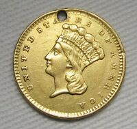 1856 P TYPE 3 GOLD $1 DOLLAR INDIAN PRINCESS UPRIGHT 5 .900 FINE XFD COIN AE656