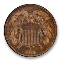 1873 CLOSED 3 TWO CENT PIECE 2C NGC PR-66 RB PROOF CAC APPROVED