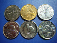 CANADIAN VINTAGE 5 CENT LOT 1928 AU 1942  TOMBAC  1945  STEEL  1964 1967 ET