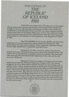 1981 ICELAND 5 COIN C.O.A. DOCUMENT NO COINS