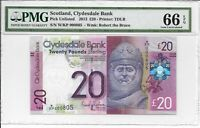 SCOTLAND CLYDESDALE BANK   20 POUNDS 2013. PMG 66EPQ.
