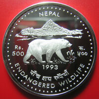 1993 NEPAL 500 RUPEE SILVER PROOF HIMALAYAN BEAR ENDANGERED WILDLIFE  COIN