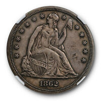 1862 SEATED LIBERTY DOLLAR NGC XF EXTRA FINE DETAILS KEY DATE ORIGINAL
