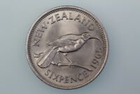 NZ SIXPENCE COIN 1965 KM26.2 GOOD FINE