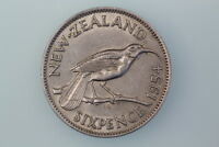 NZ SIXPENCE COIN 1954 KM26.1 FINE
