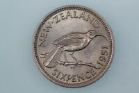 NZ SIXPENCE COIN 1951 KM16 ALMOST LY FINE