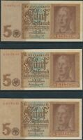 CURRENCY GERMANY 1939 WW2 3RD REICH NAZI REICHMARK SEQUENTIAL TRI UNCIRCULATED