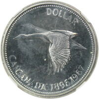 1967 CANADA $1 MINT ERROR 64 PROOFLIKE DOUBLE STRUCK   ROTATED IN COLLAR