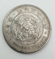 ESTATE FOUND MEIJI ERA JAPANESE DRAGON 1 YEN SILVER COIN