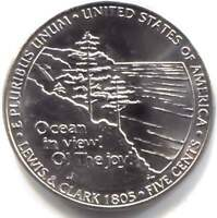 2005 P OCEAN IN VIEW LEWIS AND CLARK JEFFERSON NICKEL COIN UNCIRCULATED