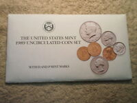 1989 U.S. UNCIRCULATED MINT SET/ SET IN AVERAGE CONDITION/ KEEPER