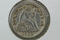 1843 SEATED DIME XF OLD LIGHT CLEANING