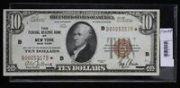 1929 TEN DOLLAR NATIONAL BANKNOTE VF F 1860B FEDERAL RESERVE BANK OF NEW YORK S