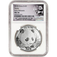 2018 CHINA SILVER PANDA  30 G  10 YUAN NGC MS70 EARLY RELEASES 35TH ANNIVERSARY