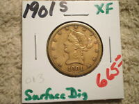 1901 S $10 U.S. LIBERTY HEAD GOLD/ GREAT VALUE/ SURFACE DIG