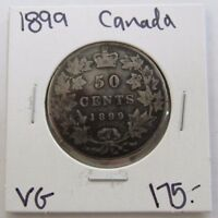 1899 GOOD CANADA FIFTY CENT SILVER COIN