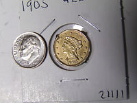 1905 LIBERTY $2.50 GOLD QUARTER EAGLE WITH FANCY ENGRAVED REVERSE
